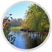 West Branch Iowa River Round Beach Towel