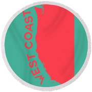 West Coast Pop Art - Coral Red On Teal  Round Beach Towel