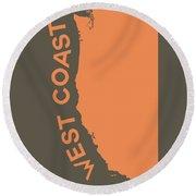 West Coast Pop Art - Crusta Orange On Judge Grey Brown Round Beach Towel