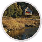 West Falmouth Boathouse Round Beach Towel