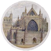 West Front, Exeter Cathedral Round Beach Towel