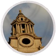 West Front Of St. Paul's Cathedral, London Round Beach Towel