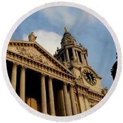 West Front Of St.paul's Cathedral, London Round Beach Towel