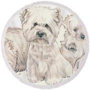 West Highland White Terrier Puppies Round Beach Towel
