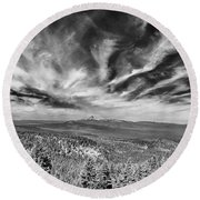 West Of Crater Lake B W Round Beach Towel