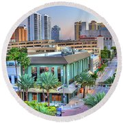West Palm At Twilight Round Beach Towel