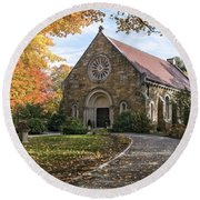 West Parish Chapel In Fall, Andover, Ma Round Beach Towel
