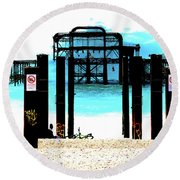 West Pier Graphic Round Beach Towel by Chris Lord