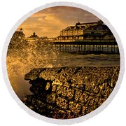 West Pier Splash Round Beach Towel