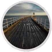 West Pier, Whitby, England Round Beach Towel