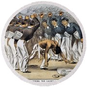 West Point Cartoon, 1880 Round Beach Towel