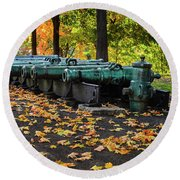West Point Fall Leaves Round Beach Towel