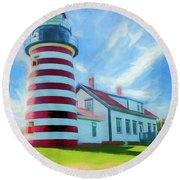 West Quaddy Head Lighthouse Round Beach Towel