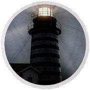 West Quoddy Head Lighthouse Aglow In Silhouette Round Beach Towel