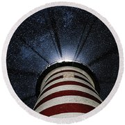 West Quoddy Head Lighthouse Night Light Round Beach Towel by Marty Saccone