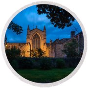 West Side Of Hexham Abbey At Night Round Beach Towel