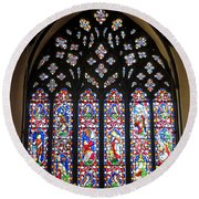 West Stained Glass Window Christ Church Cathedral 1 Round Beach Towel