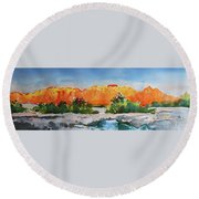 West Temple Zion Afternoon Round Beach Towel
