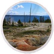 West Thumb Geyer At Yellowstone Lake Round Beach Towel