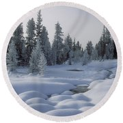 West Thumb Snow Pillows Round Beach Towel