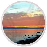 West Vancouver Sunset Round Beach Towel