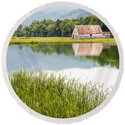 West Virginia Barn Reflected In Pond   Round Beach Towel