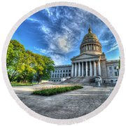 West Virginia State Capitol Building No. 2 Round Beach Towel