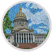 West Virginia State Capitol Round Beach Towel