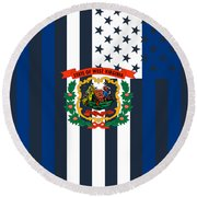 West Virginia State Flag Graphic Usa Styling Round Beach Towel