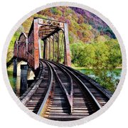 West Virginia Trestle Round Beach Towel