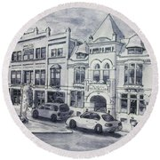 Western Avenue In Muskegon, Michigan Round Beach Towel