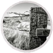 Western Barbed Wire Fence Black And White Round Beach Towel