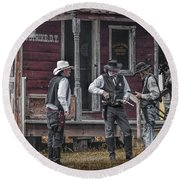 Western Cowboy Re-enactors At 1880 Town Round Beach Towel