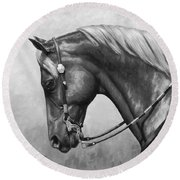 Western Horse Black And White Round Beach Towel