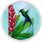 Western Streamertail Hummingbird Round Beach Towel