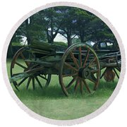 Western Wagon Round Beach Towel