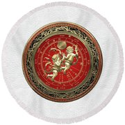 Western Zodiac - Golden Gemini - The Twins On White Leather Round Beach Towel
