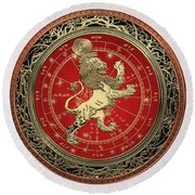 Western Zodiac - Golden Leo - The Lion On Black Velvet Round Beach Towel