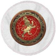 Western Zodiac - Golden Leo - The Lion On White Leather Round Beach Towel