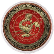Western Zodiac - Golden Scorpio - The Scorpion On Black Velvet Round Beach Towel