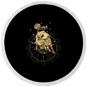 Western Zodiac - Golden Taurus - The Bull On Black Canvas Round Beach Towel
