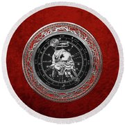 Western Zodiac - Silver Taurus - The Bull On Red Velvet Round Beach Towel