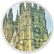 Westminster Abbey Postcard Round Beach Towel