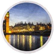 Westminster Bridge And Big Ben Art Round Beach Towel