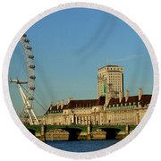 Westminster Bridge And London Eye Round Beach Towel