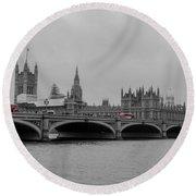 Westminster Bridge In  London Round Beach Towel