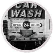 Westside Highway Car Wash Nyc Round Beach Towel