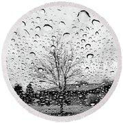 Wet Car Window B Round Beach Towel
