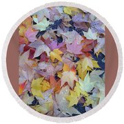 Wet Fall Leaves Round Beach Towel