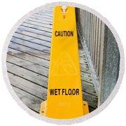 Wet Floor Warning Round Beach Towel